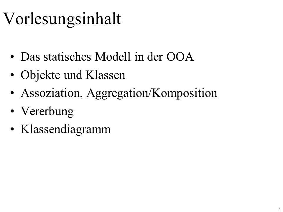 Vorlesungsinhalt Das statisches Modell in der OOA Objekte und Klassen