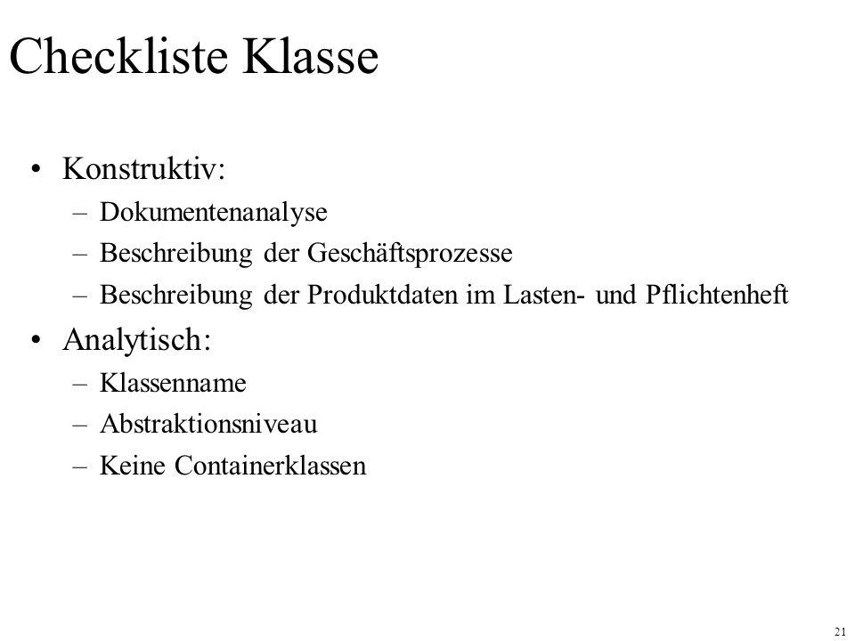 Checkliste Klasse Konstruktiv: Analytisch: Dokumentenanalyse