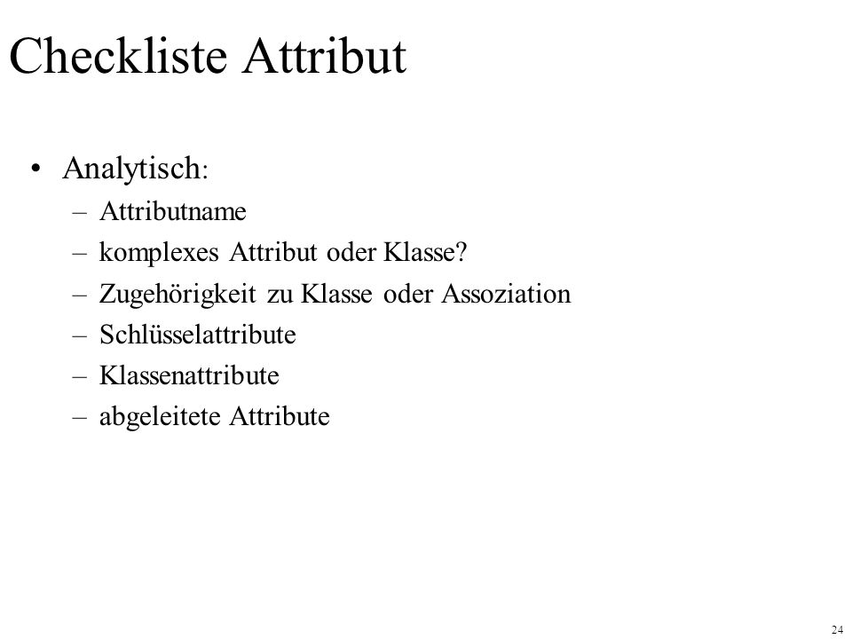 Checkliste Attribut Analytisch: Attributname
