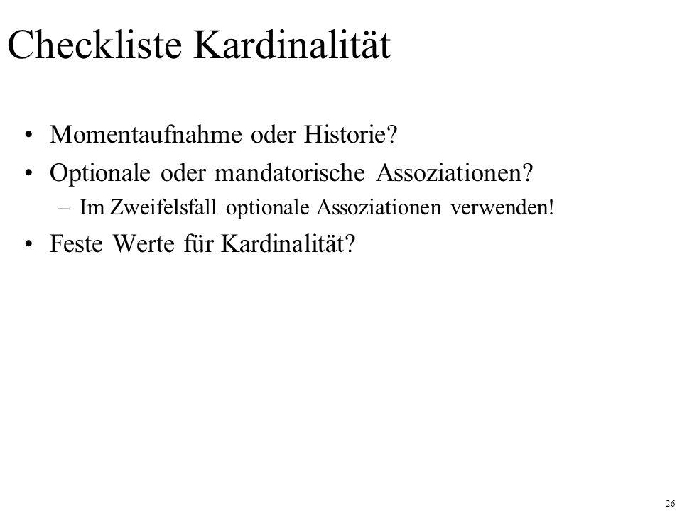Checkliste Kardinalität