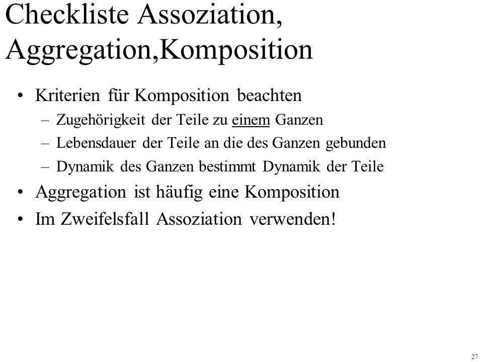Checkliste Assoziation, Aggregation,Komposition