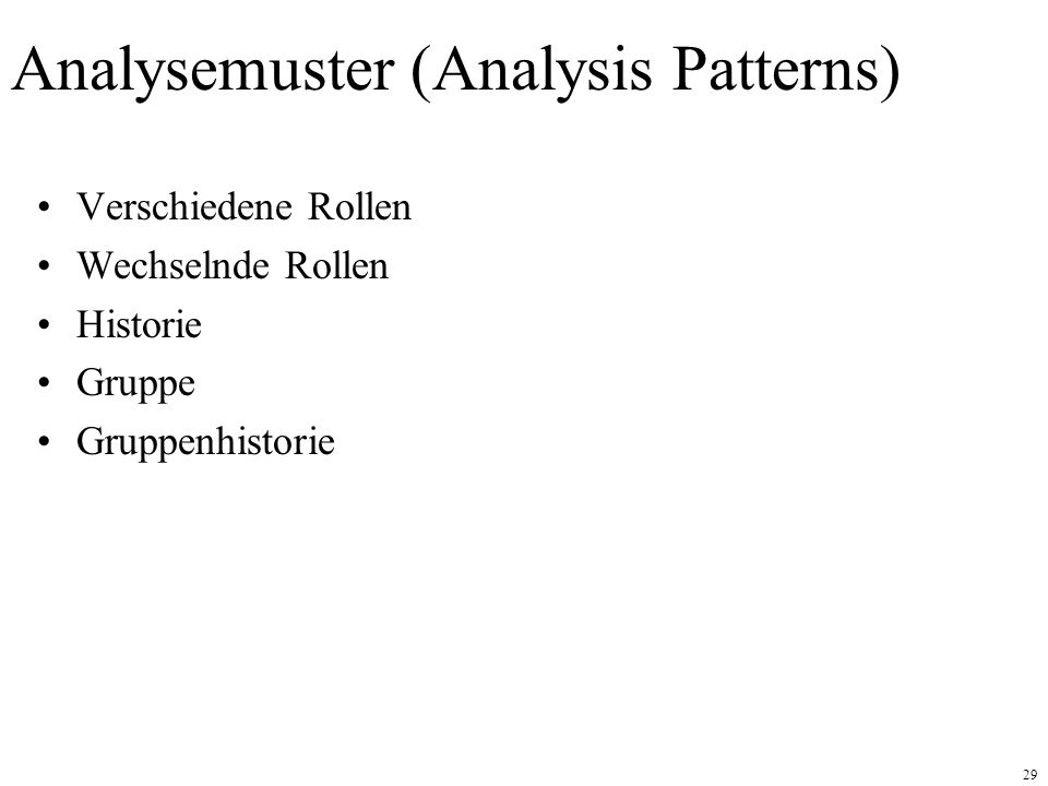 Analysemuster (Analysis Patterns)