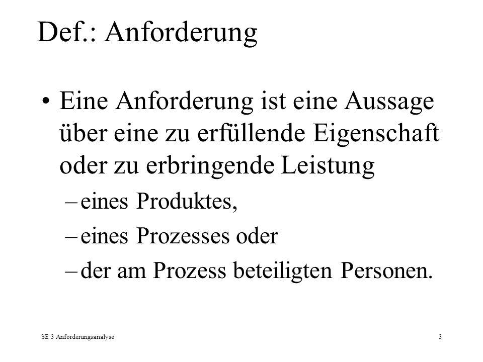 Def.: Anforderung Eine Anforderung ist eine Aussage über eine zu erfüllende Eigenschaft oder zu erbringende Leistung.