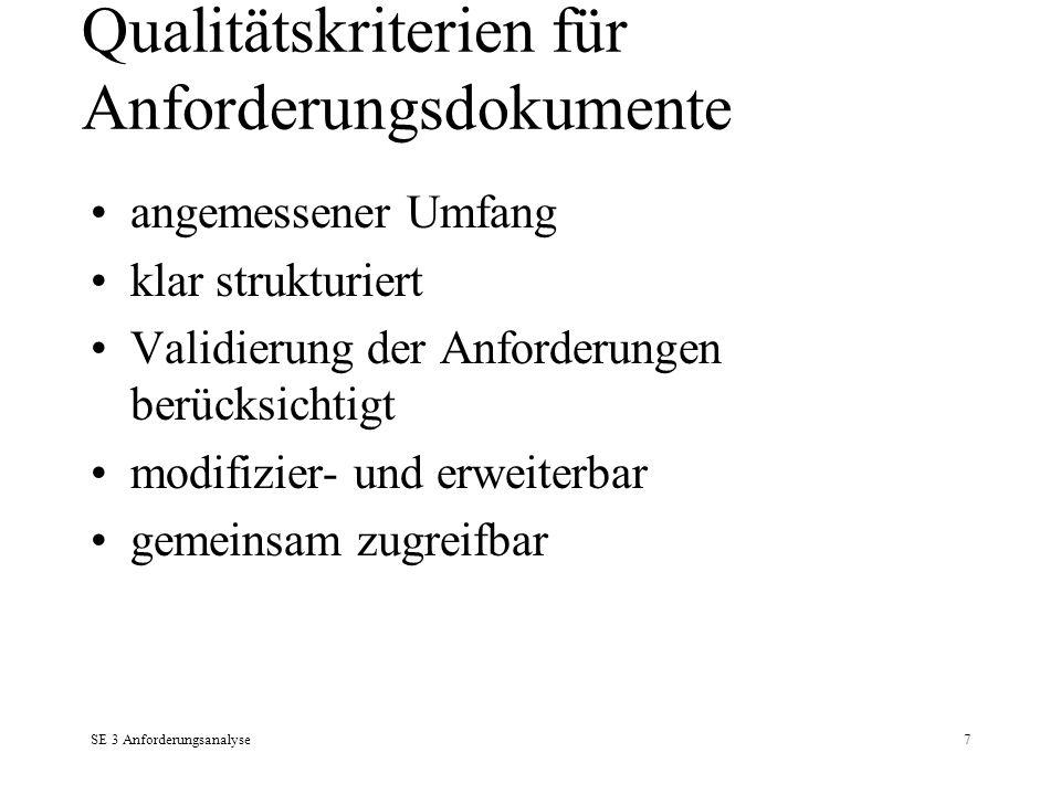 Qualitätskriterien für Anforderungsdokumente