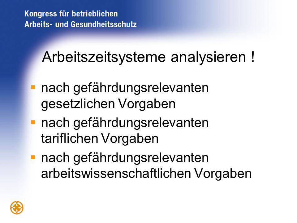 Arbeitszeitsysteme analysieren !