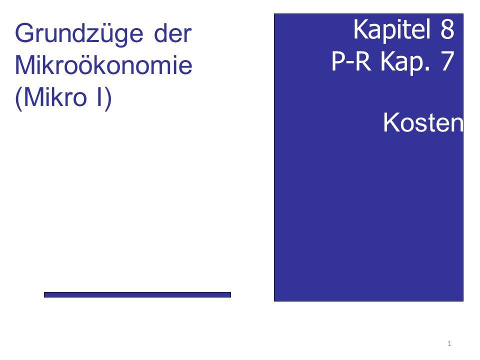 Grundzüge der Mikroökonomie (Mikro I) Kapitel 8 P-R Kap. 7