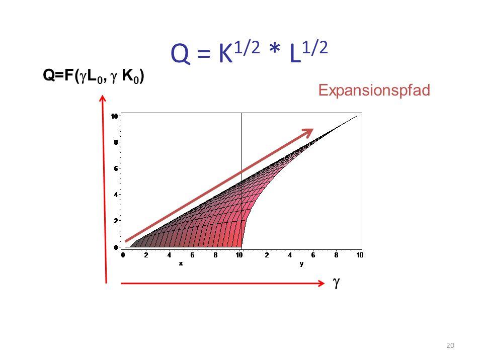 Q = K1/2 * L1/2 Q=F(gL0, g K0) Expansionspfad g