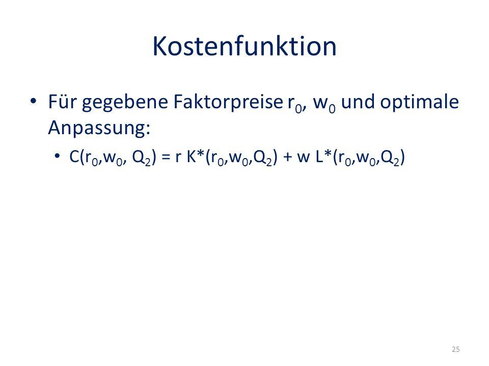 Kostenfunktion Für gegebene Faktorpreise r0, w0 und optimale Anpassung: C(r0,w0, Q2) = r K*(r0,w0,Q2) + w L*(r0,w0,Q2)
