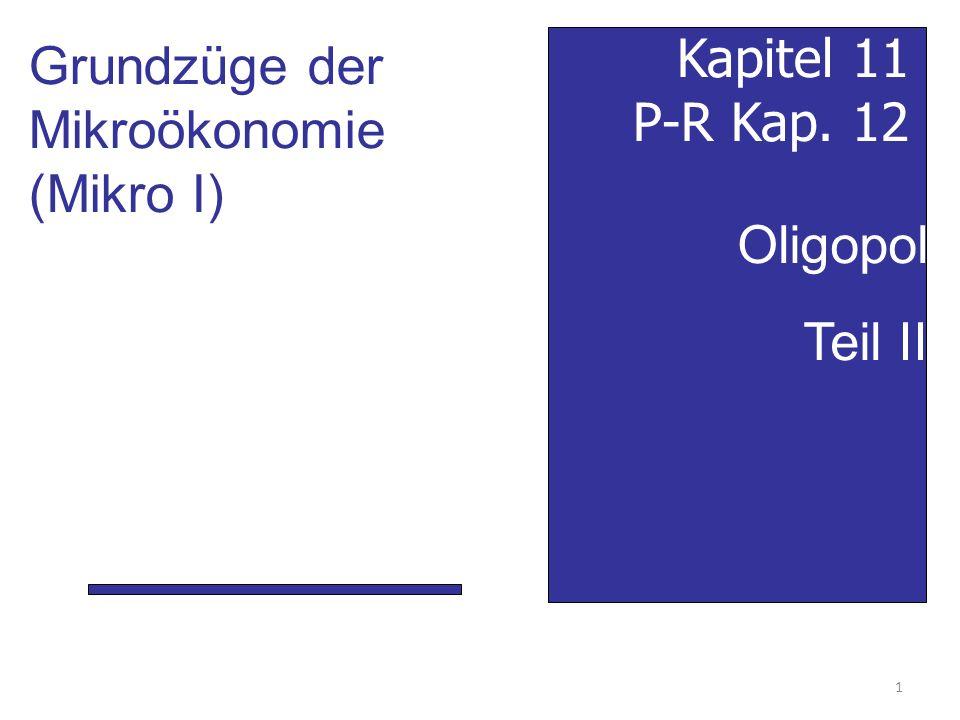 Grundzüge der Mikroökonomie (Mikro I) Kapitel 11 P-R Kap. 12