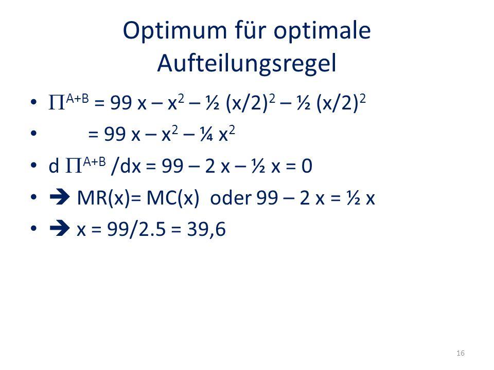 Optimum für optimale Aufteilungsregel