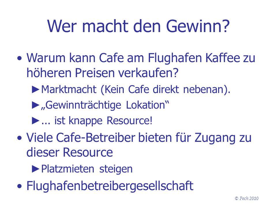 Wer macht den Gewinn Warum kann Cafe am Flughafen Kaffee zu höheren Preisen verkaufen Marktmacht (Kein Cafe direkt nebenan).