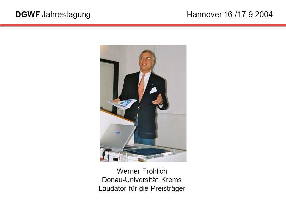 Werner Fröhlich Donau-Universität Krems Laudator für die Preisträger
