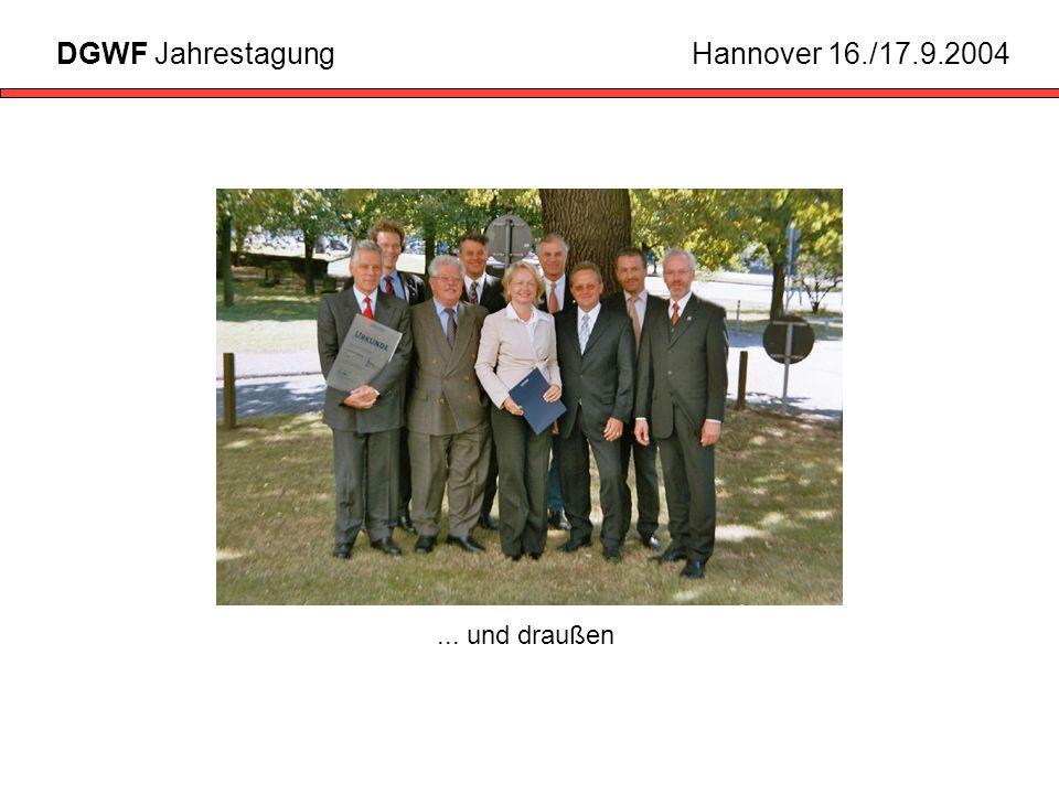 DGWF Jahrestagung Hannover 16./17.9.2004 ... und draußen