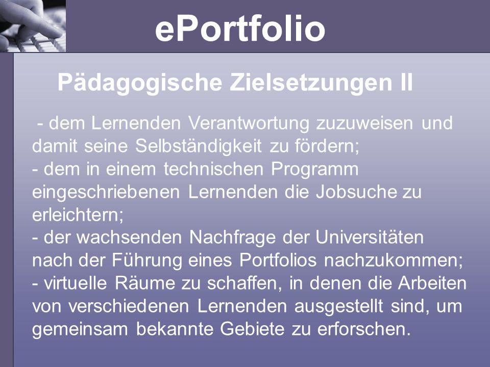 Pädagogische Zielsetzungen II