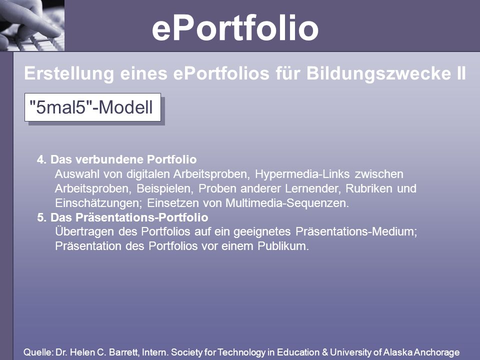 Erstellung eines ePortfolios für Bildungszwecke II