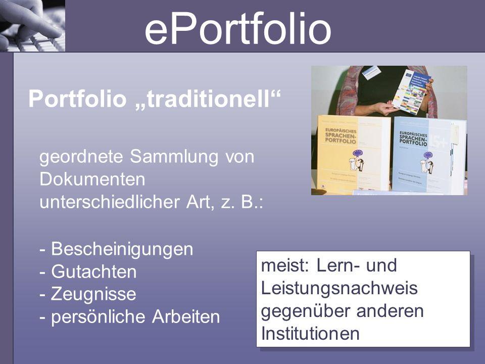 "ePortfolio Portfolio ""traditionell"