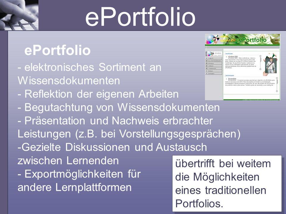 ePortfolio ePortfolio - elektronisches Sortiment an Wissensdokumenten