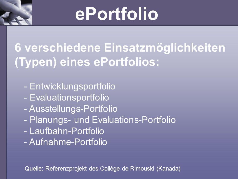 6 verschiedene Einsatzmöglichkeiten (Typen) eines ePortfolios: