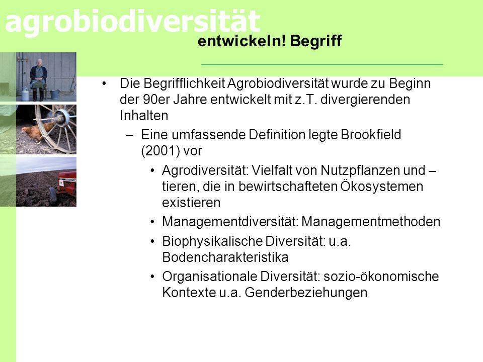 entwickeln! Begriff Die Begrifflichkeit Agrobiodiversität wurde zu Beginn der 90er Jahre entwickelt mit z.T. divergierenden Inhalten.