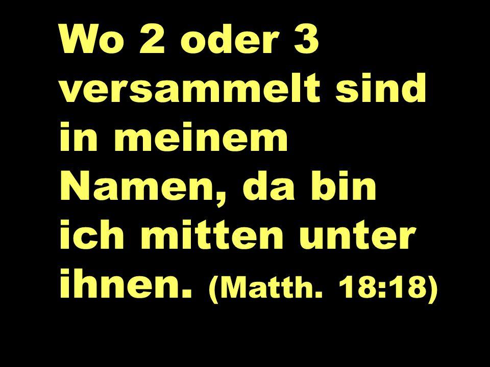 Wo 2 oder 3 versammelt sind in meinem Namen, da bin ich mitten unter ihnen. (Matth. 18:18)