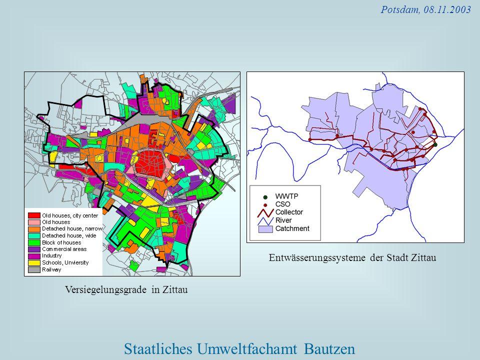 Potsdam, 08.11.2003 Entwässerungssysteme der Stadt Zittau Versiegelungsgrade in Zittau