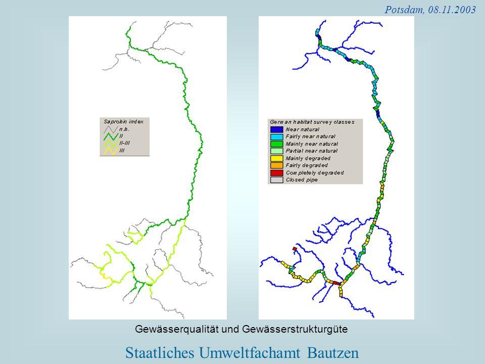 Potsdam, 08.11.2003 Gewässerqualität und Gewässerstrukturgüte