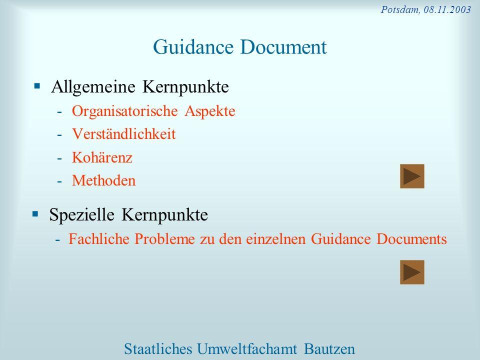 Guidance Document Allgemeine Kernpunkte Spezielle Kernpunkte