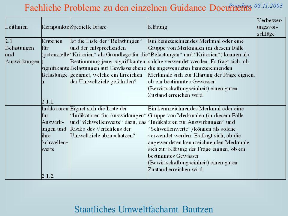 Fachliche Probleme zu den einzelnen Guidance Documents