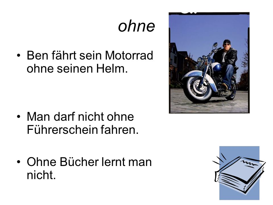 ohne Ben fährt sein Motorrad ohne seinen Helm.
