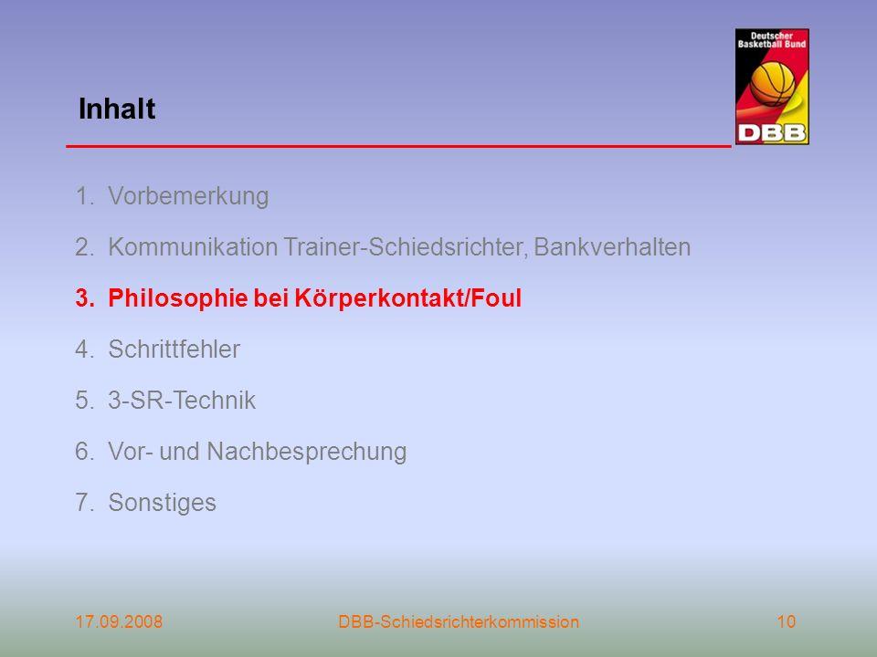 Inhalt Vorbemerkung. Kommunikation Trainer-Schiedsrichter, Bankverhalten. Philosophie bei Körperkontakt/Foul.