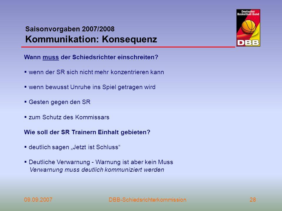 Saisonvorgaben 2007/2008 Kommunikation: Konsequenz