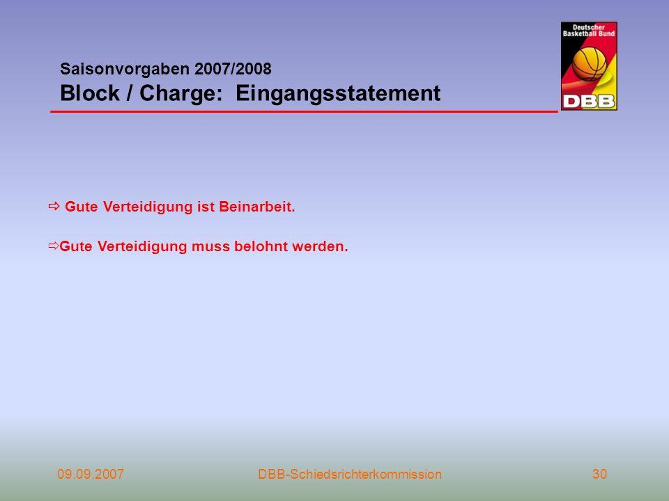 Saisonvorgaben 2007/2008 Block / Charge: Eingangsstatement