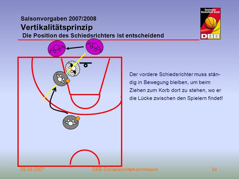 Saisonvorgaben 2007/2008 Vertikalitätsprinzip Die Position des Schiedsrichters ist entscheidend