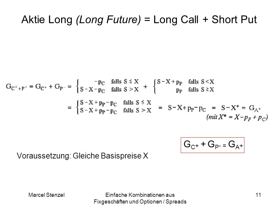 Aktie Long (Long Future) = Long Call + Short Put