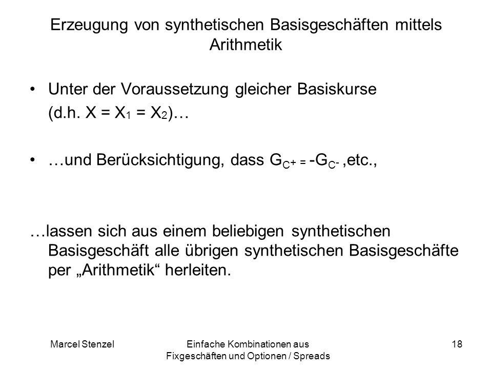 Erzeugung von synthetischen Basisgeschäften mittels Arithmetik