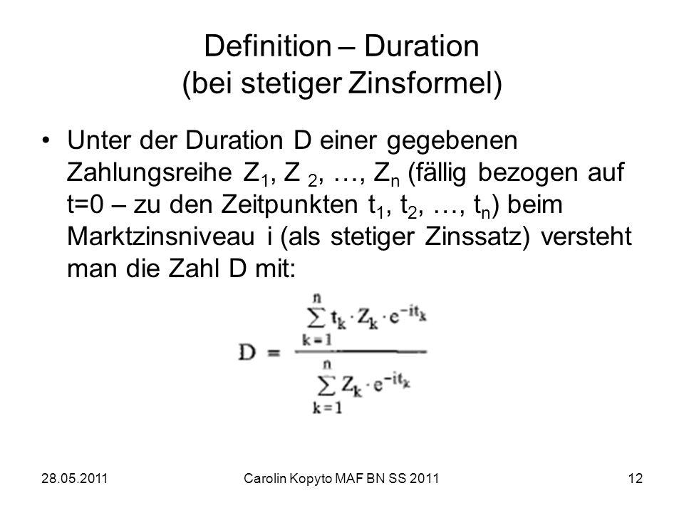 Definition – Duration (bei stetiger Zinsformel)