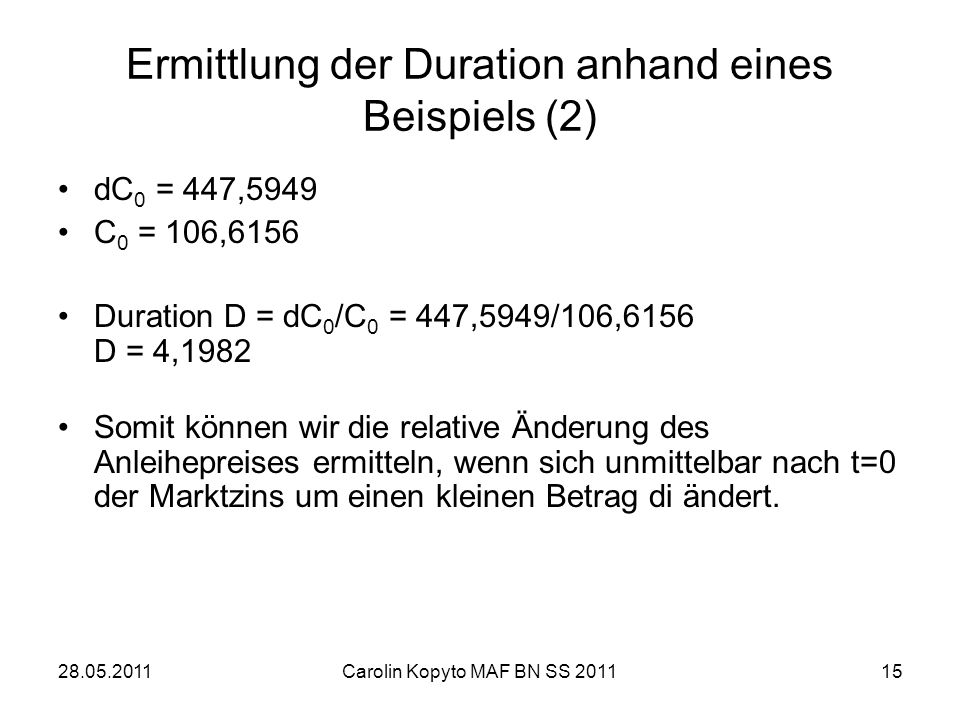 Ermittlung der Duration anhand eines Beispiels (2)