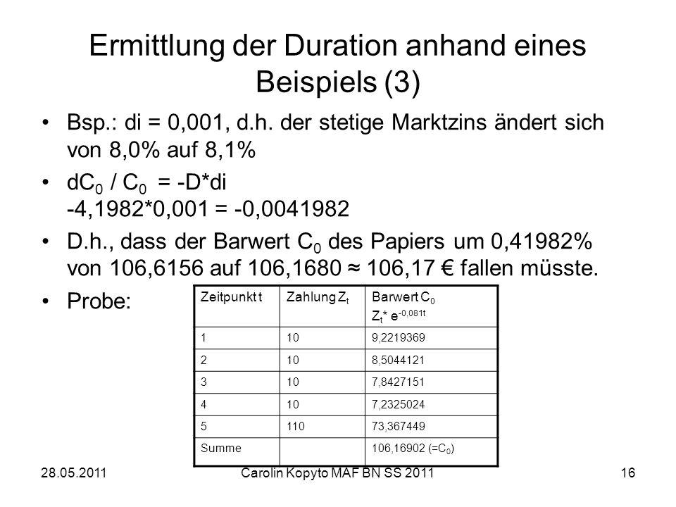 Ermittlung der Duration anhand eines Beispiels (3)