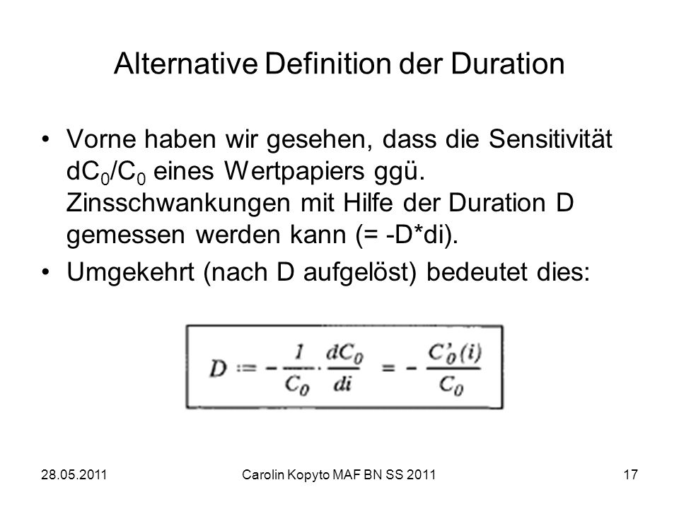Alternative Definition der Duration