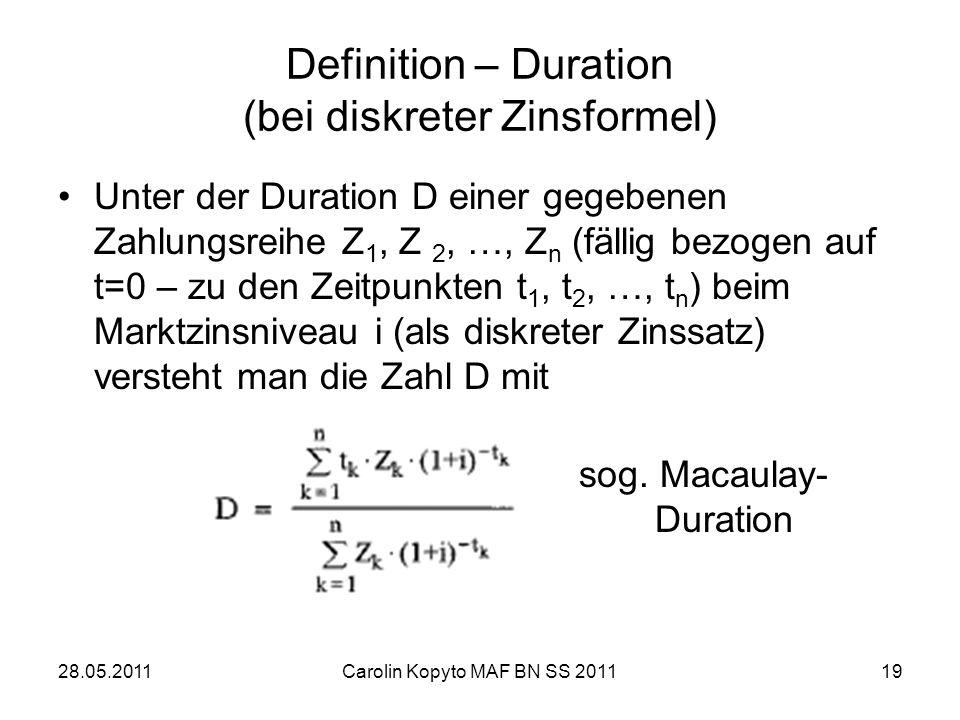 Definition – Duration (bei diskreter Zinsformel)