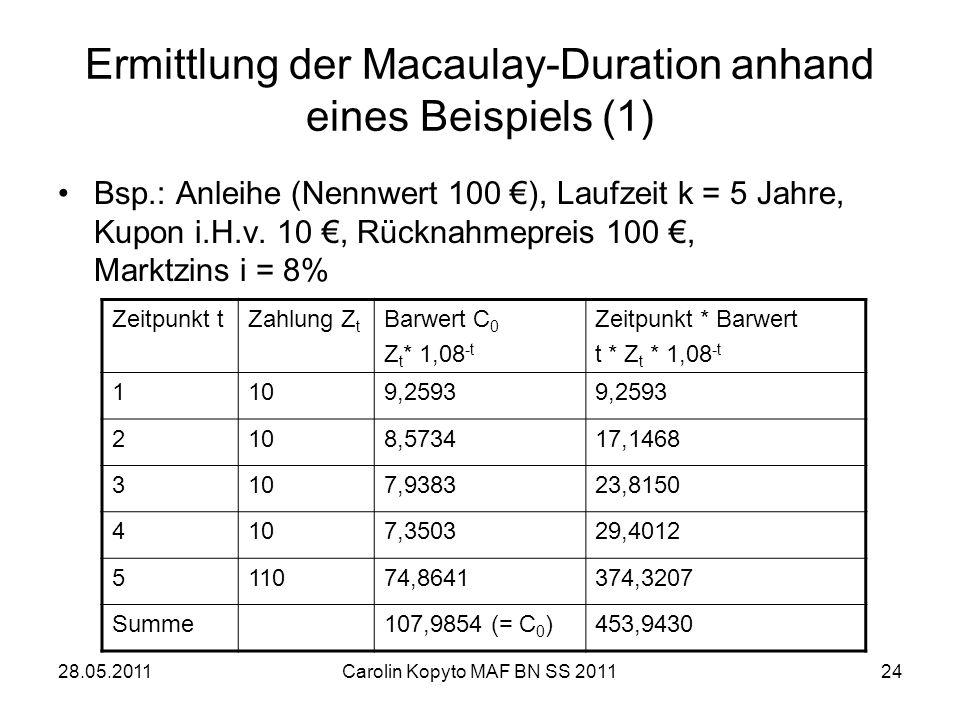 Ermittlung der Macaulay-Duration anhand eines Beispiels (1)