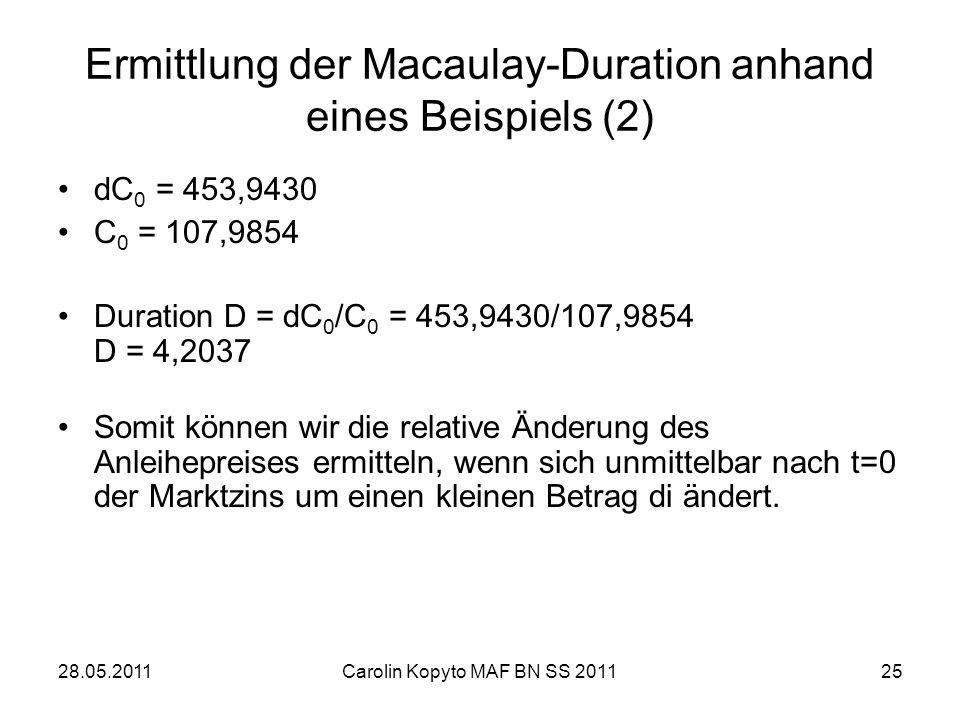 Ermittlung der Macaulay-Duration anhand eines Beispiels (2)