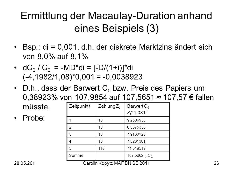 Ermittlung der Macaulay-Duration anhand eines Beispiels (3)
