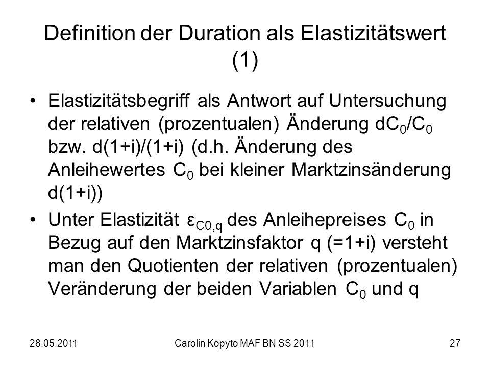 Definition der Duration als Elastizitätswert (1)