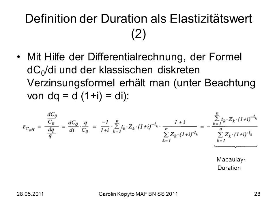 Definition der Duration als Elastizitätswert (2)