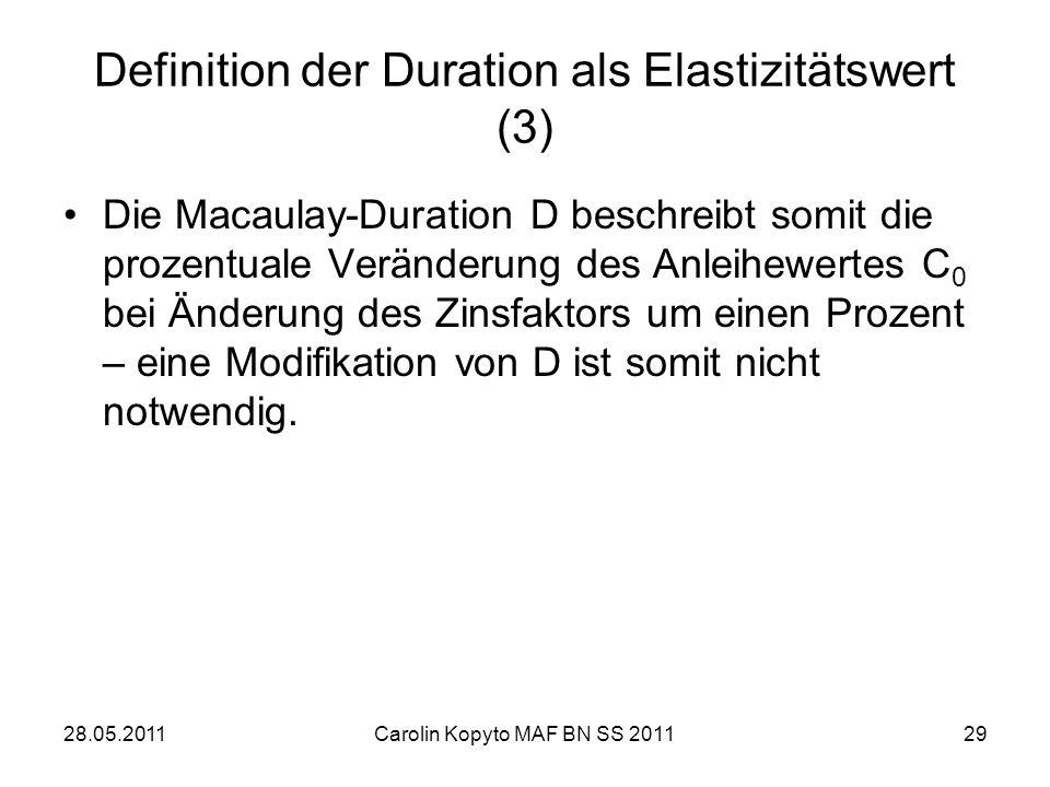 Definition der Duration als Elastizitätswert (3)