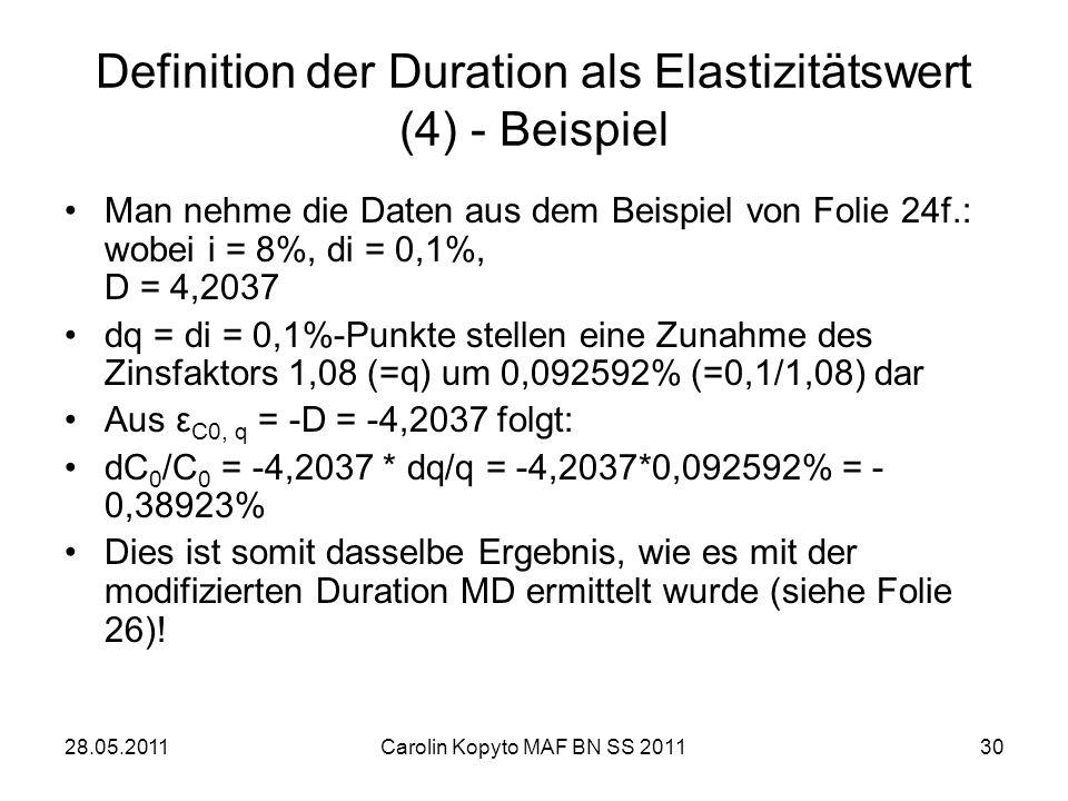Definition der Duration als Elastizitätswert (4) - Beispiel
