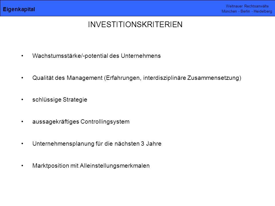 INVESTITIONSKRITERIEN