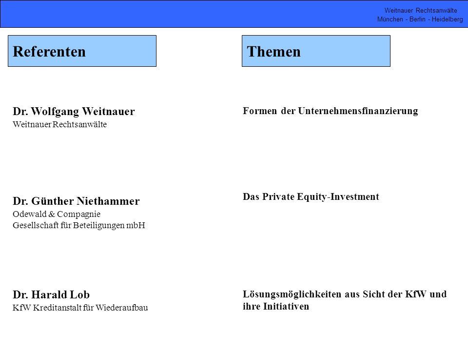 Referenten Themen Dr. Wolfgang Weitnauer Dr. Günther Niethammer