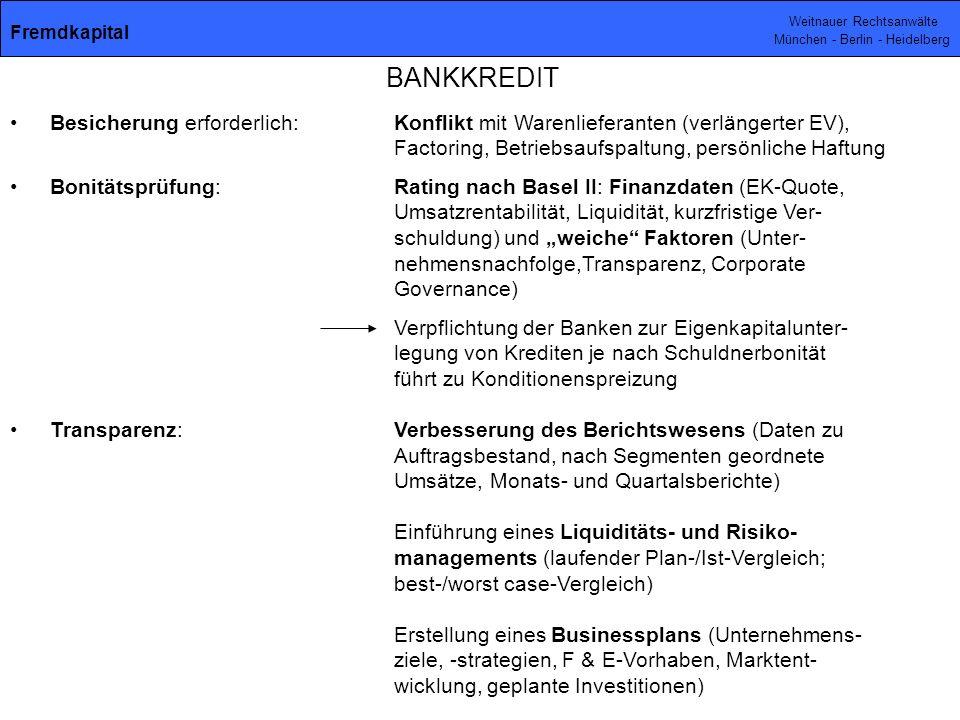 Fremdkapital BANKKREDIT.